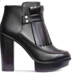 H&M Platform Heel Fringe Loafer Boot